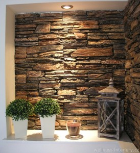 wellness interiéry wellness design umělý kámen obklad stěny