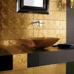 Zlatá linie ve wellness a SPA ožívá – obklady ze zlata – zlatá barva v interiéru